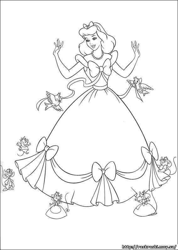 181Раскраска принцессы золушка распечатать