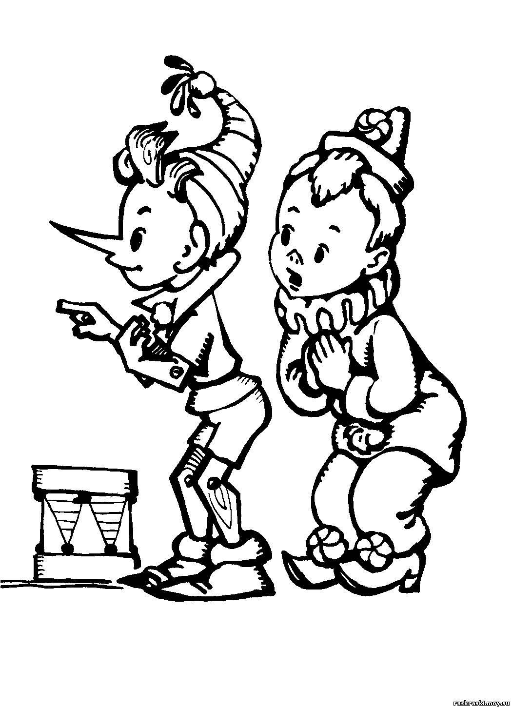 Буратино - Раскраски - Сборник раскрасок - Раскраски для детей